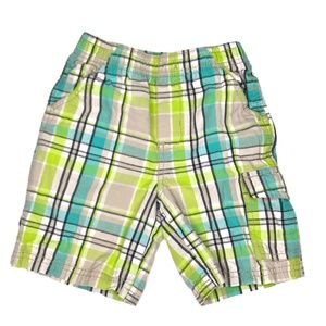 Toughskins Green and Tan Plaid Shorts A060453